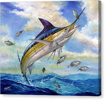 The Blue Marlin Leaping To Eat Canvas Print by Terry  Fox