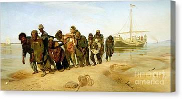 The Boatmen On The Volga Canvas Print by Ilya Efimovich Repin