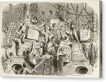 The Boston Tea Party, December 16 Canvas Print by Vintage Design Pics
