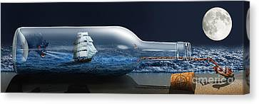 The Bottleship And Sea Monster Canvas Print by Monika Juengling