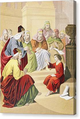 The Boy Jesus Debating With Priests And Canvas Print by Vintage Design Pics