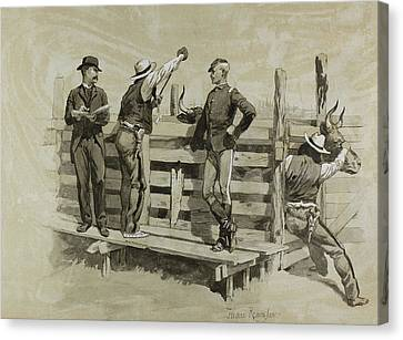 The Branding Chute Canvas Print by Frederic Remington