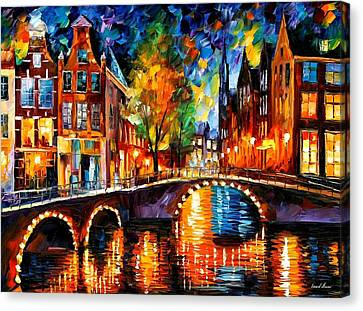 The Bridges Of Amsterdam Canvas Print by Leonid Afremov