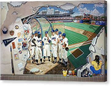 The Brooklyn Dodgers In Ebbets Field Canvas Print by Bonnie Siracusa