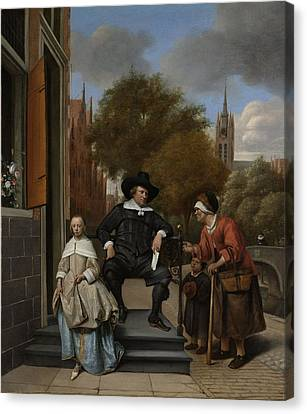 The Burgomaster Of Delft And His Daughter Canvas Print by Celestial Images