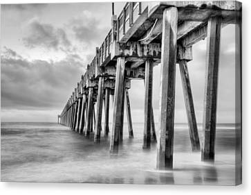 The Casino Beach Pier In Black And White Canvas Print by JC Findley