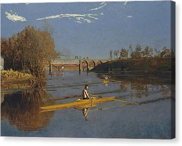 The Champion Single Sculls Canvas Print by Thomas Eakins