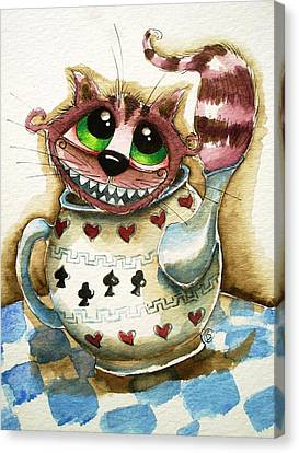 The Cheshire Cat - In A Teapot Canvas Print by Lucia Stewart