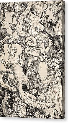 The Children Climbed The Christmas Tree With Animals And All Canvas Print by Walter Crane
