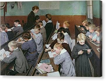 The Children's Class Canvas Print by Henri Jules Jean Geoffroy