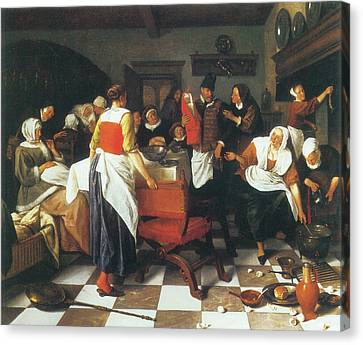 The Christening Feast Canvas Print by Jan Steen