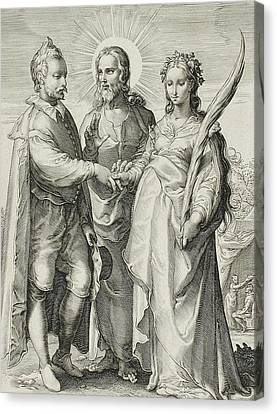 The Christian Marriage Canvas Print by Jan Saenredam