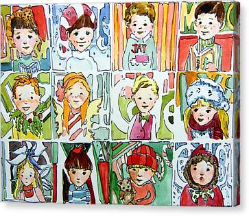 The Christmas Cousins Canvas Print by Mindy Newman