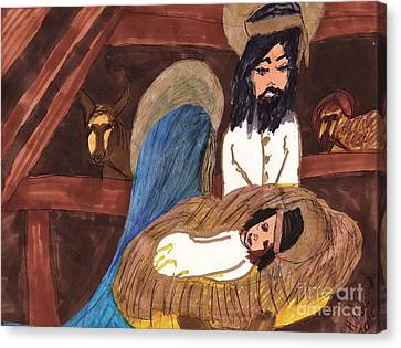 The Christmas Manger Canvas Print by Elinor Rakowski