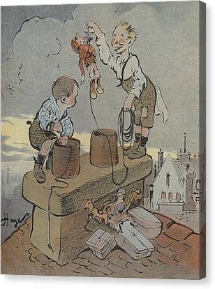 The Christmas Of Little Scoundrels Canvas Print by French School