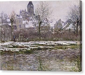 The Church At Vetheuil Under Snow Canvas Print by Claude Monet