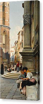 The Church Of The Frari And School Of San Rocco, Venice Canvas Print by Henry Woods