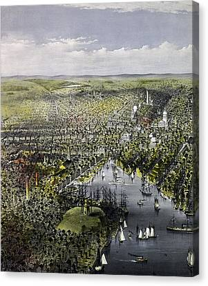 The City Of Baltimore, Circa 1880 Canvas Print by Currier and Ives