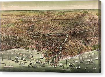 The City Of Chicago, Circa 1892 Canvas Print by Currier and Ives