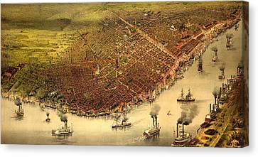 The City Of New Orleans, And The Mississippi River Lake Pontchartrain In Distance, Circa 1885 Canvas Print by Currier and Ives