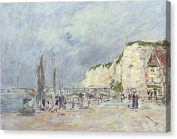The Cliffs At Dieppe And The Petit Paris Canvas Print by Eugene Louis Boudin