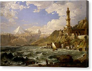 The Coast Of Genoa Canvas Print by Jasper Francis Cropsey