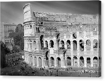 The Colosseum Black And White By Stefano Senise Canvas Print by Stefano Senise