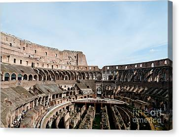 The Colosseum Colosseo Ruins Of The Gladiators Stadium Rome Italy Canvas Print by Andy Smy