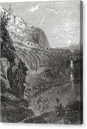 The Colosseum, Rome, Italy Before The Canvas Print by Vintage Design Pics