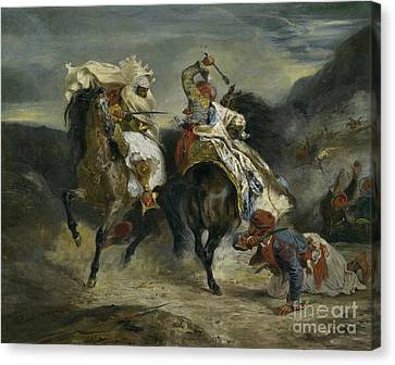 The Combat Of The Giaour And Hassan Canvas Print by Ferdinand Victor Eugene Delacroix