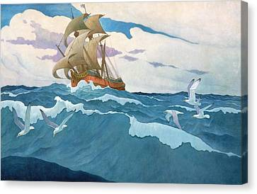 The Coming Of The Mayflower  Canvas Print by Newell Convers Wyeth