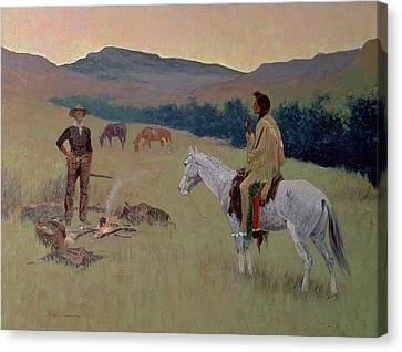 The Conversation Canvas Print by Frederic Remington