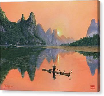 The Cormorant Fisherman Li River Guilin China  Canvas Print by Richard Harpum
