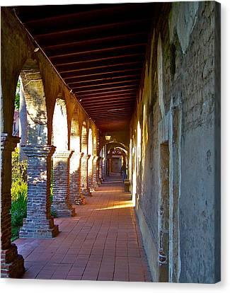 The Corridor By The Serra Chapel San Juan Capistrano Mission California Canvas Print by Karon Melillo DeVega