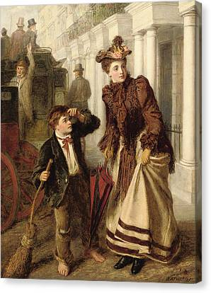 The Crossing Sweeper Canvas Print by William Powell Frith