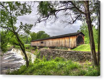 The Crossing Watson Mill Covered Bridge Canvas Print by Reid Callaway