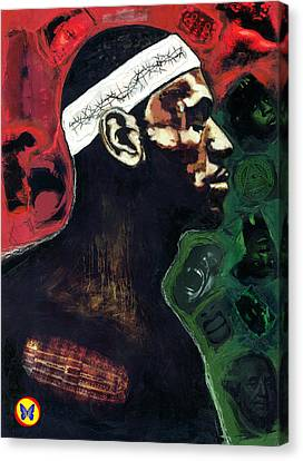 The Crucifiction Of Lebron James Canvas Print by Vernell Garrett