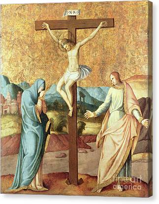 The Crucifixion With The Virgin And St John The Evangelist Canvas Print by French School