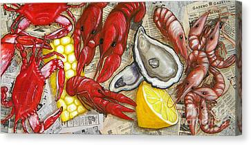 The Daily Seafood Canvas Print by JoAnn Wheeler