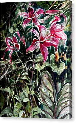 The Day Lilies Canvas Print by Mindy Newman