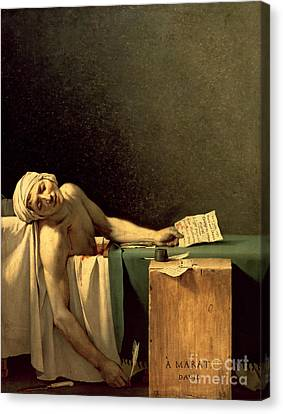 The Death Of Marat Canvas Print by Jacques Louis David