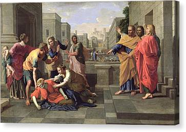 The Death Of Sapphira Canvas Print by Nicolas Poussin