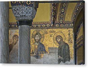 The Deesis Mosaic With Christ As Ruler At Hagia Sophia Canvas Print by Ayhan Altun