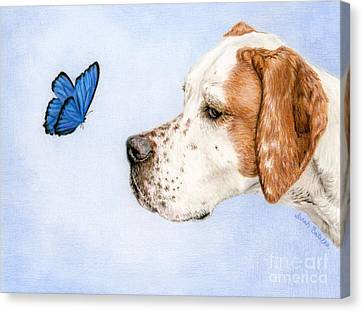 The Dog And The Butterfly Canvas Print by Sarah Batalka