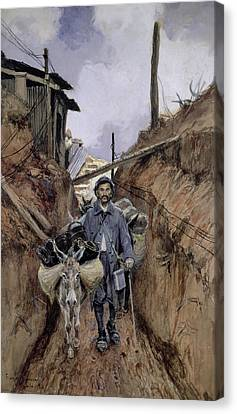 The Donkey Canvas Print by Francois Flameng