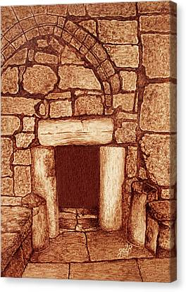 The Door Of Humility At The Church Of The Nativity Bethlehem Canvas Print by Georgeta Blanaru