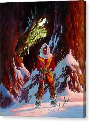 The Dragon In Winter Canvas Print by Richard Hescox