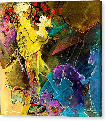 The Dragon Nursery Under The Apple Tree Canvas Print by Miki De Goodaboom