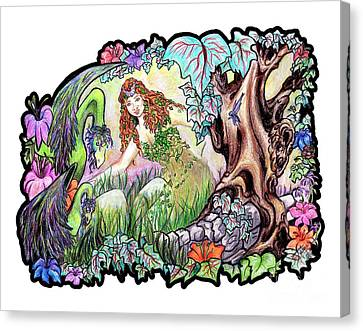 The Dragons Of Eden Easter Egg Hunt Canvas Print by Janice Moore