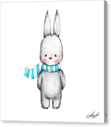 The Drawing Of Cute Bunny In Scarf Canvas Print by Anna Abramska